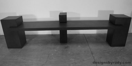 Contemporary Concrete Bench with charcoal concrete slab, 3 charcoal columns, Designs by Rudy