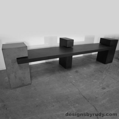 Contemporary Concrete Bench with concrete slab supported on 3 columns, Designs by Rudy