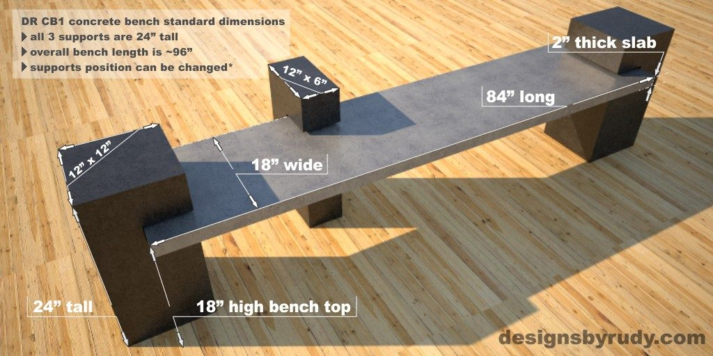 Custom Concrete Bench dimensions, concrete slab supported on 3 concrete square columns, Designs by Rudy