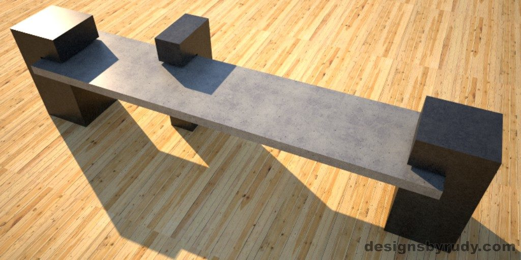 Custom Concrete Bench, gray concrete slab supported on 3 charcoal concrete square columns, top angle view, Designs by Rudy
