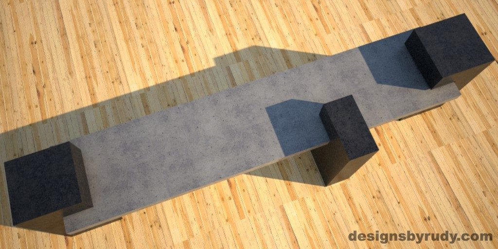 Custom Concrete Bench, gray concrete slab supported on 3 charcoal concrete square columns, top view, Designs by Rudy