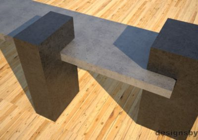 Custom Concrete Bench, gray concrete slab supported on 3 charcoal concrete square columns, two columns closeup 2, Designs by Rudy