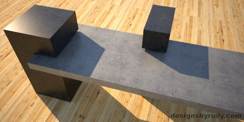 Custom Concrete Bench, gray concrete slab supported on 3 charcoal concrete square columns, two columns closeup 3, Designs by Rudy