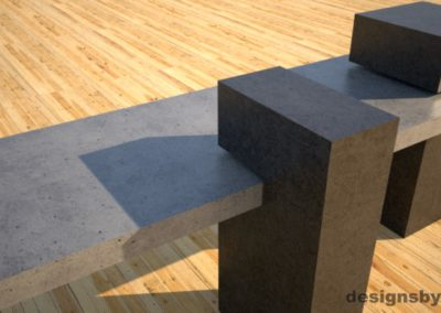 Custom Concrete Bench, gray concrete slab supported on 3 charcoal concrete square columns, two columns closeup, Designs by Rudy