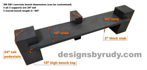 CB1 concrete bench on 3 pedestals by Designs by Rudy, dimensions