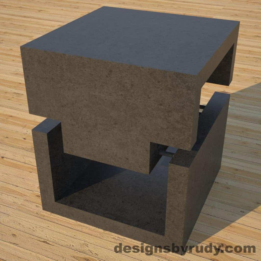 DR1 Charcoal Concrete Side Table corner view 2, Designs by Rudy