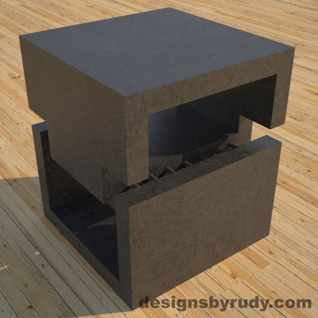 DR1 Charcoal Concrete Side Table corner view 3, Designs by Rudy