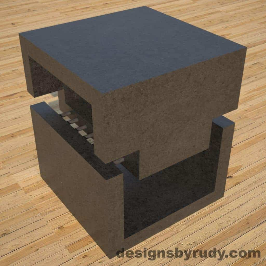 DR1 Charcoal Concrete Side Table Corner View, Designs By Rudy