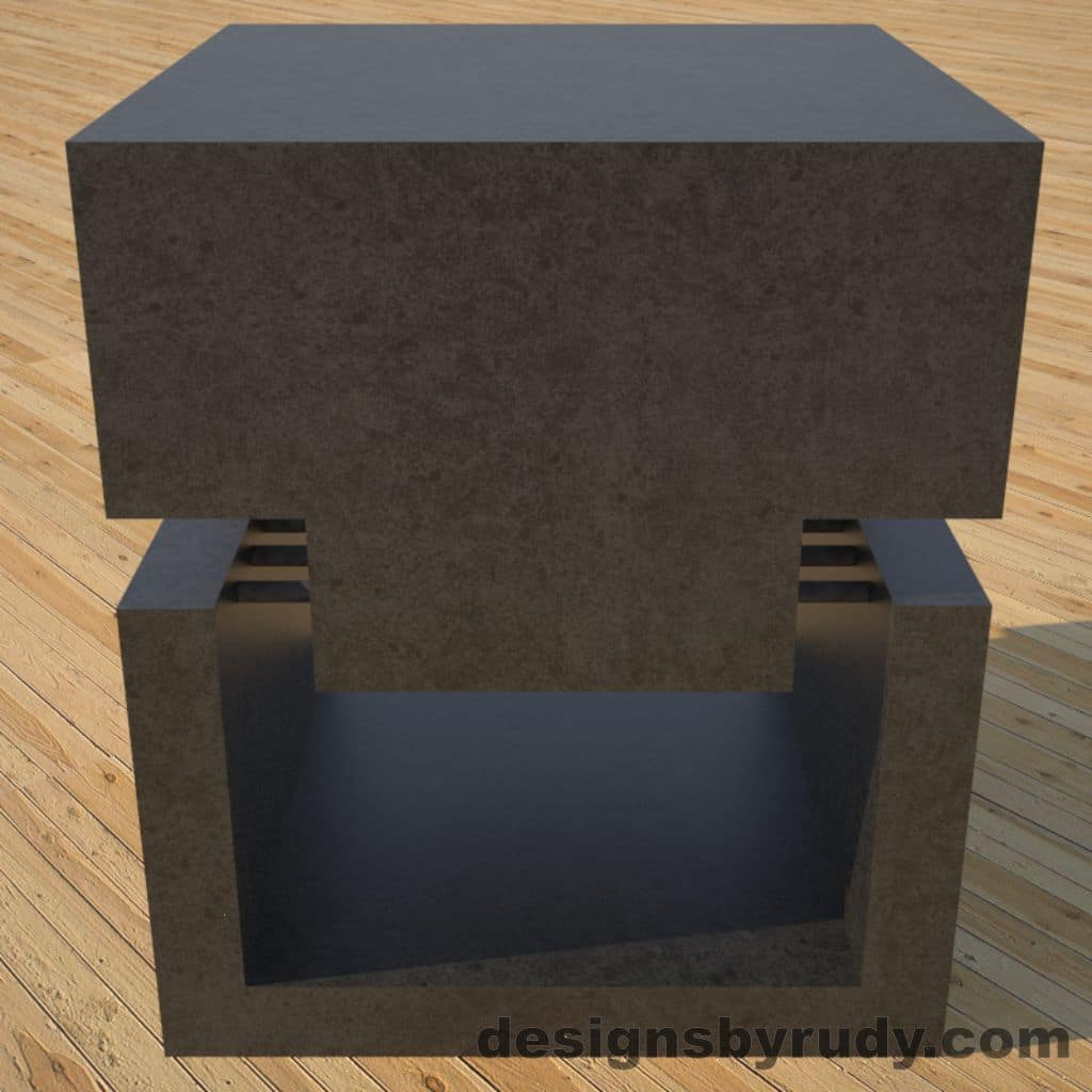 DR1 Charcoal Concrete Side Table front view, Designs by Rudy