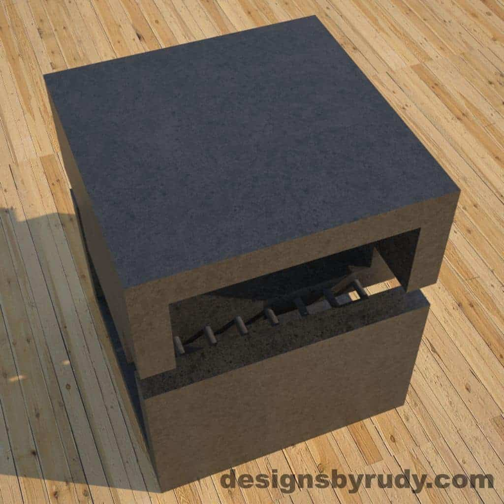 R1 Charcoal Concrete Side Table top angle view, Designs by Rudy