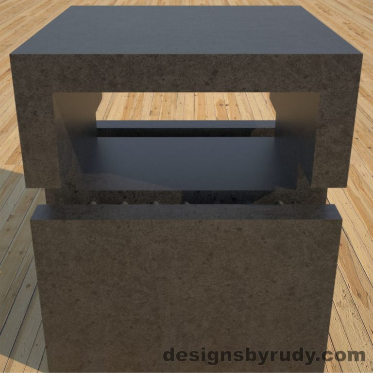 DR1 Charcoal Concrete Side Table upper section closeup, Designs by Rudy