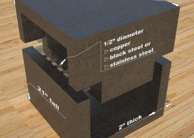 DR1 Concrete Side Table dimensions