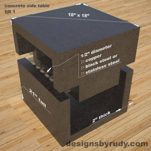 DR1 Concrete Side Table dimensions