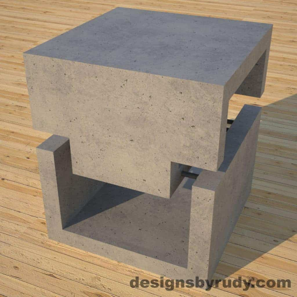 DR1 Gray Concrete Side Table corner view 2, Designs by Rudy