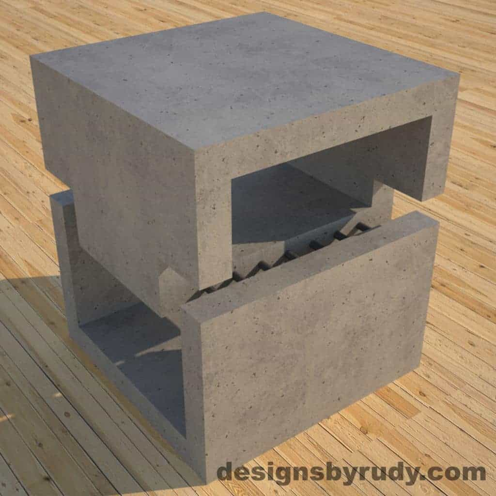 DR1 Gray Concrete Side Table corner view 3, Designs by Rudy