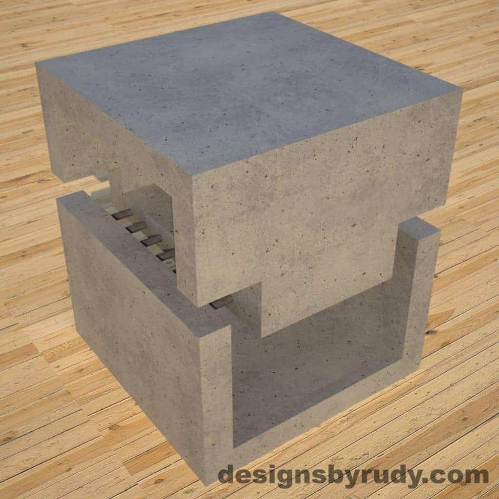 DR1 Gray Concrete Side Table corner view, Designs by Rudy
