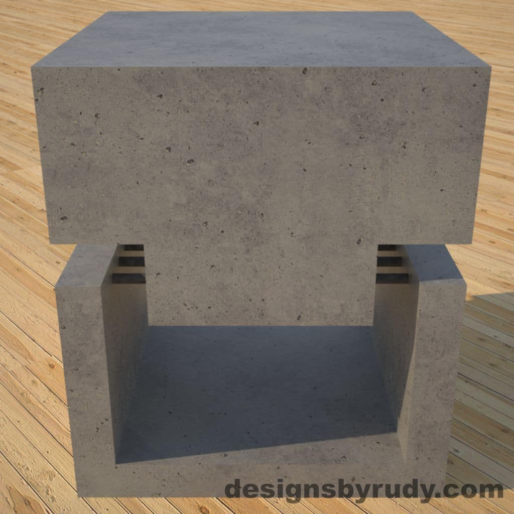 DR1 Gray Concrete Side Table front view, Designs by Rudy