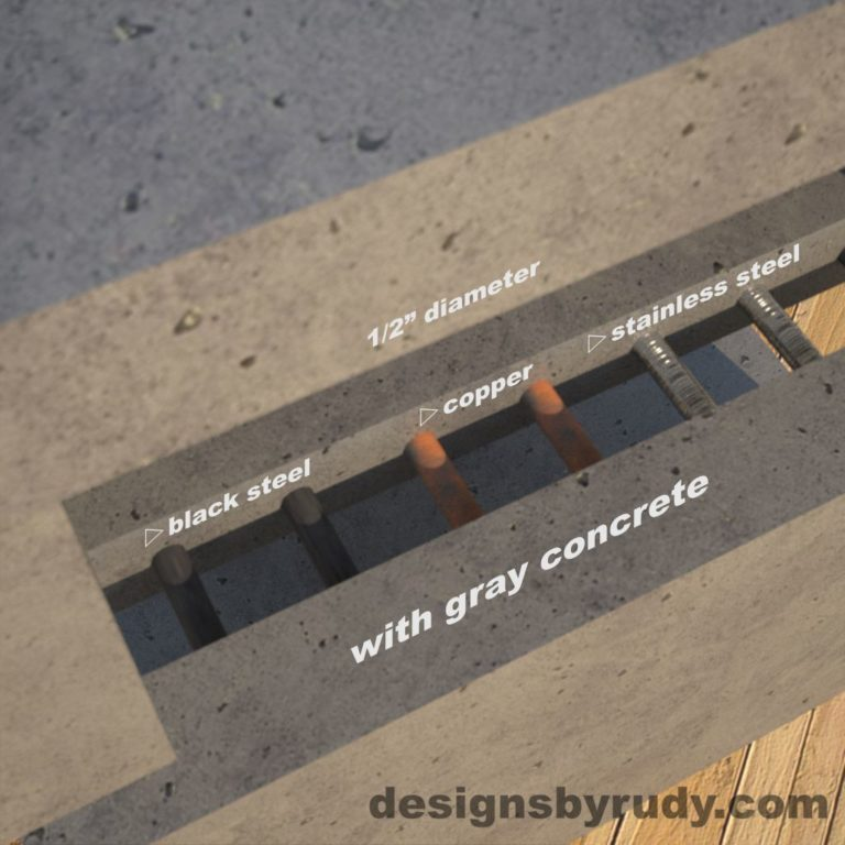 DR1 Gray Concrete Side Table metal accent options, Designs by Rudy