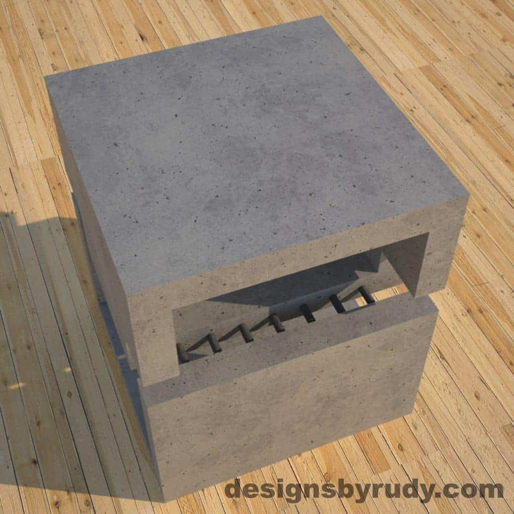 DR1 Gray Concrete Side Table top angle view, Designs by Rudy