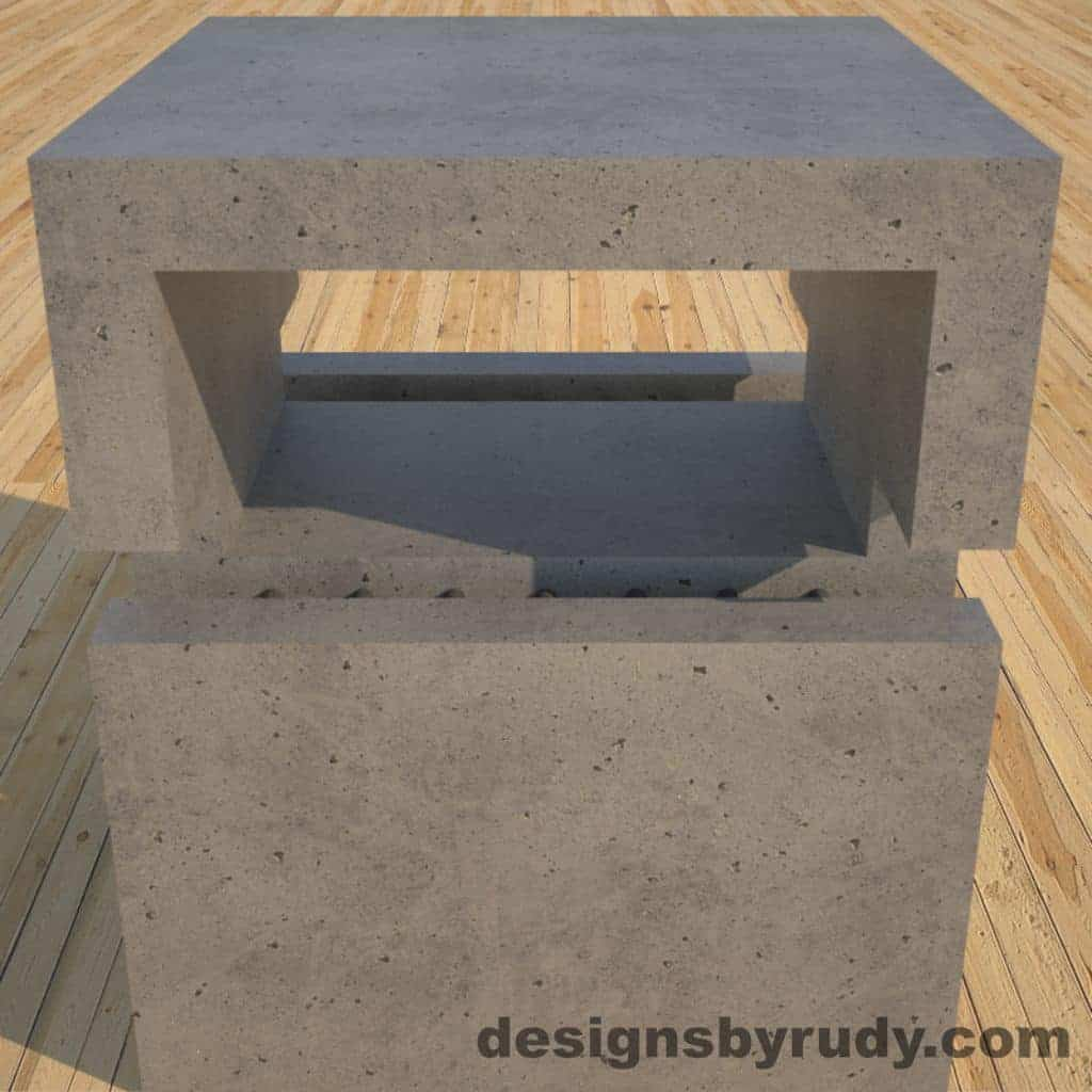 DR1 Gray Concrete Side Table upper section closeup, Designs by Rudy