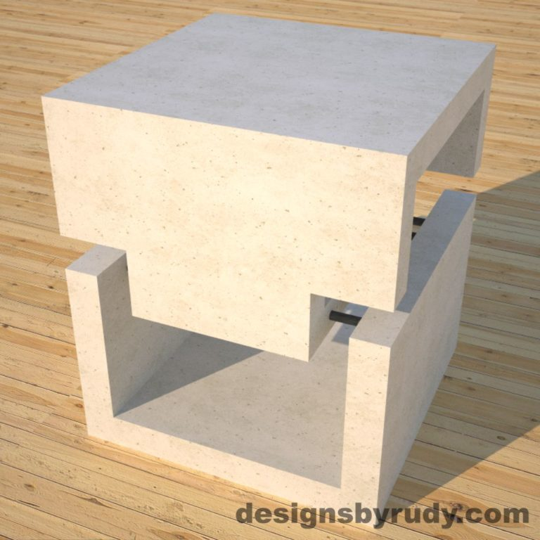 DR1 White Concrete Side Table corner view 2, Designs by Rudy