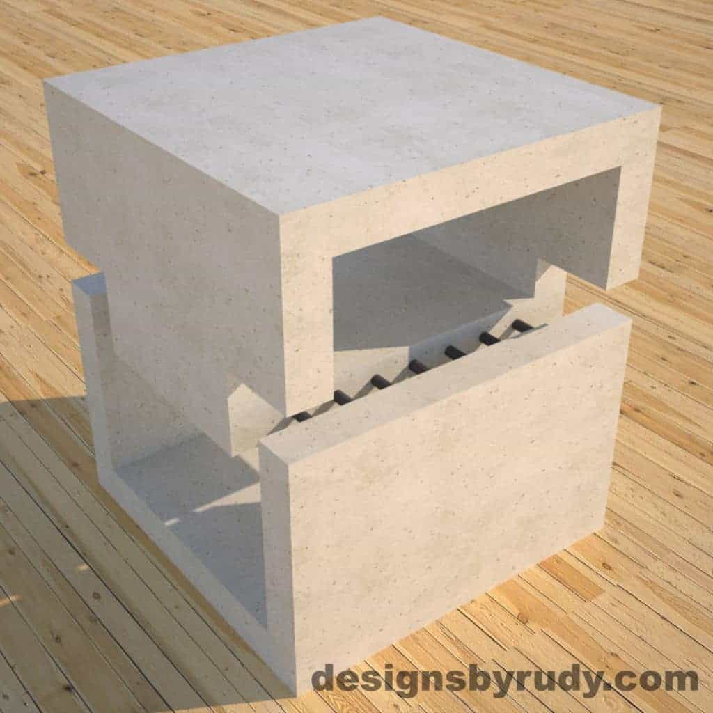 DR1 White Concrete Side Table corner view 3, Designs by Rudy