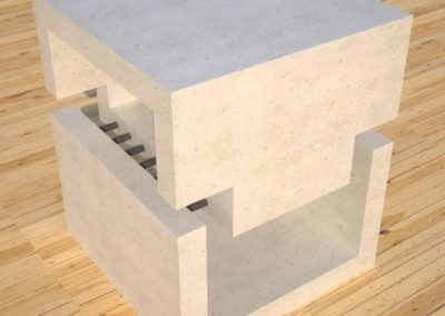 DR1 White Concrete Side Table corner view, Designs by Rudy