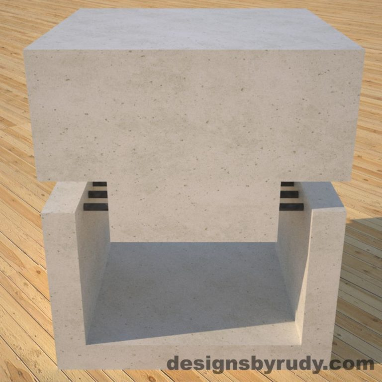 DR1 White Concrete Side Table front view, Designs by Rudy