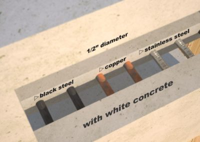 DR1 White Concrete Side Table metal accent options, Designs by Rudy