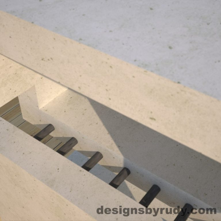 DR1 White Concrete Side Table metal detail, Designs by Rudy