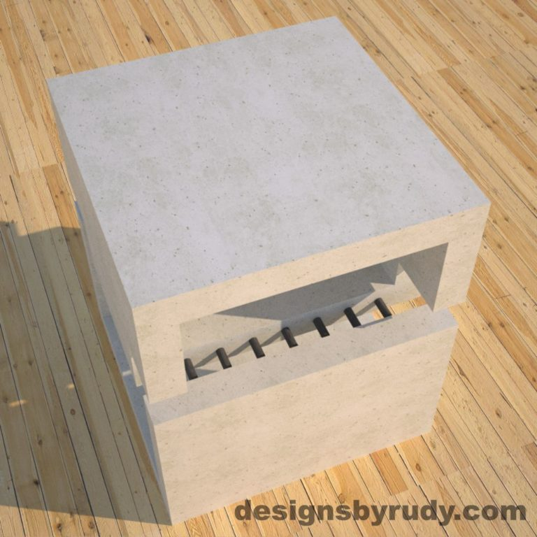 DR1 White Concrete Side Table top angle view, Designs by Rudy