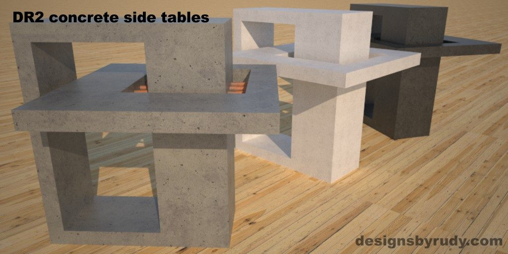 DR2 Concrete Side Tables, 3 models, gray, white and charcoal concrete front angle view, Designs by Rudy
