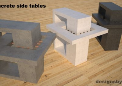 DR2 Concrete Side Tables, 3 models, gray, white and charcoal concrete front top angle view, Designs by Rudy