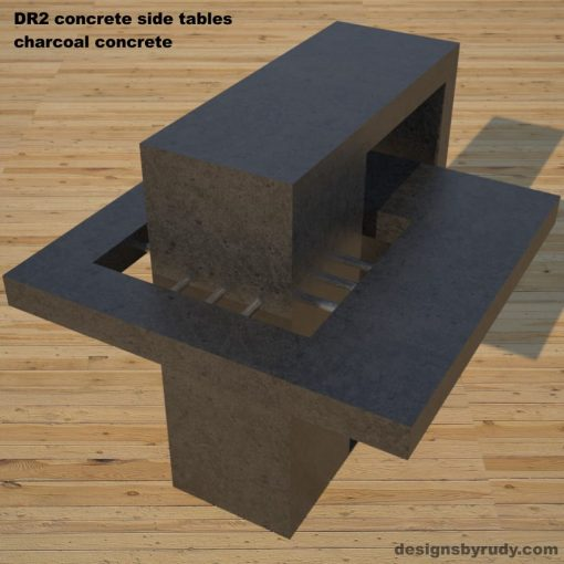 DR2 Concrete Side Tables, 3 models, gray, white and charcoal concrete rear angle view, Designs by Rudy