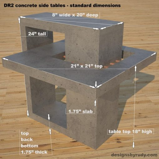DR2 Concrete Side Tables, dimensions , Designs by Rudy