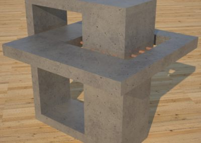 DR2 Concrete Side Tables, gray concrete cocktail table with copperl accents example , Designs by Rudy