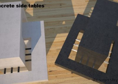DR2 Concrete Side Tables, top view of white and charcoal concrete side tables, Designs by Rudy