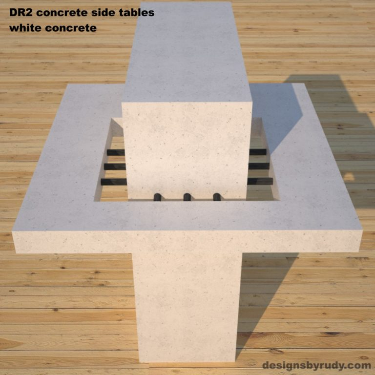 DR2 Concrete Side Tables, white concrete cocktail table with black steel metal accents example , Designs by Rudy