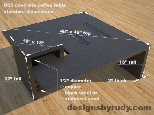 DR5 CHarcoal Concrete Coffee Table with embedded metal rods and glass panes dimensions, Designs by Rudy