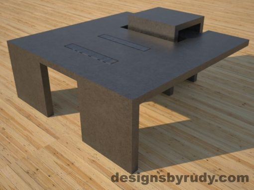 DR5 Charcoal Concrete Coffee Table with embedded metal rods and glass panes front corner angle view, Designs by Rudy