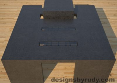 DR5 Charcoal Concrete Coffee Table with embedded metal rods and glass panes full front view, Designs by Rudy