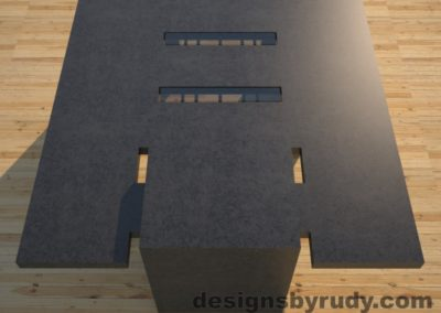 DR5 Charcoal Concrete Coffee Table with embedded metal rods and glass panes full rear view, Designs by Rudy