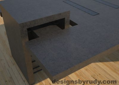 DR5 Charcoal Concrete Coffee Table with embedded metal rods and glass panes rear corner view 2, Designs by Rudy