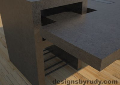 DR5 Charcoal Concrete Coffee Table with embedded metal rods and glass panes rear corner view, Designs by Rudy