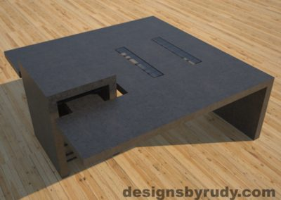 DR5 Charcoal Concrete Coffee Table with embedded metal rods and glass panes side angle view 2, Designs by Rudy