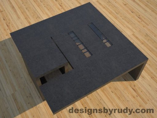 DR5 Charcoal Concrete Coffee Table with embedded metal rods and glass panes side angle view 3, Designs by Rudy
