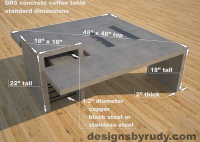 DR5 Gray Concrete Coffee Table with embedded metal rods and glass panes dimensions, Designs by Rudy