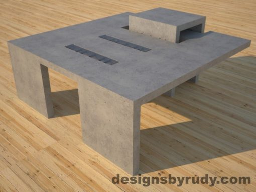 DR5 Gray Concrete Coffee Table with embedded metal rods and glass panes front corner angle view, Designs by Rudy