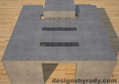 DR5 Gray Concrete Coffee Table with embedded metal rods and glass panes full front view, Designs by Rudy