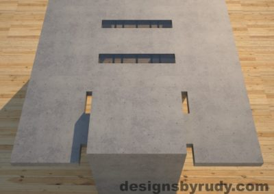 DR5 Gray Concrete Coffee Table with embedded metal rods and glass panes full rear view, Designs by Rudy